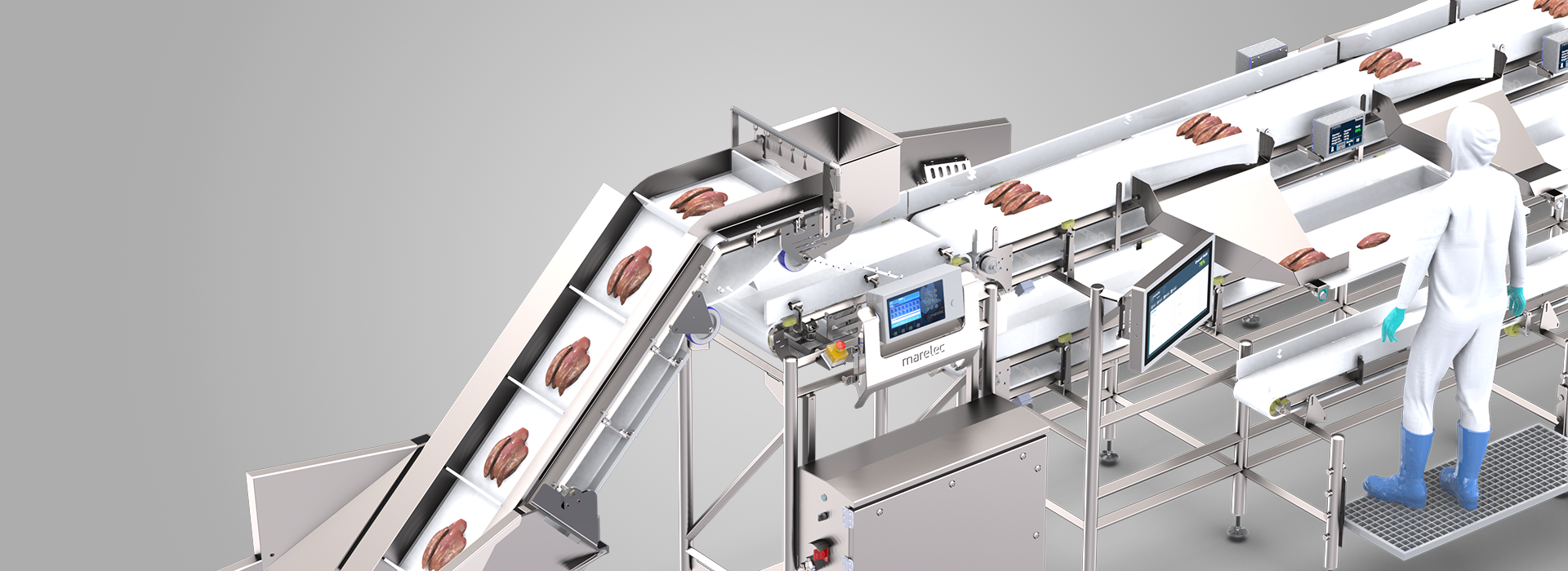 Intelligent poultry trimming line monitoring live yield, capacity, and quality per operator
